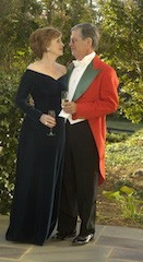 Formal hunt ball attire,evening scarlet  for men and dark gown for ladies